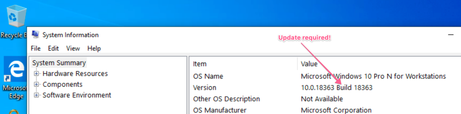 Check the Build of your OS